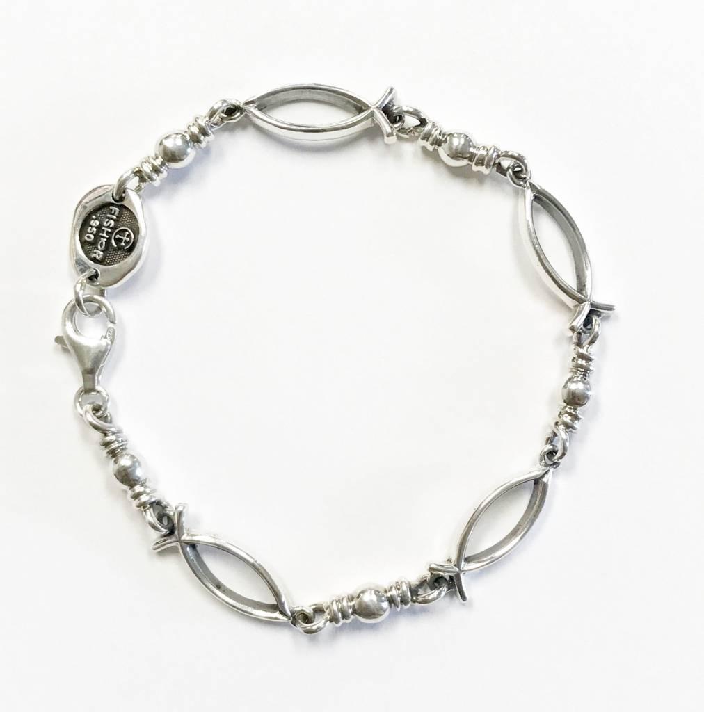 "Ichthus Link SS Bracelet 8"""