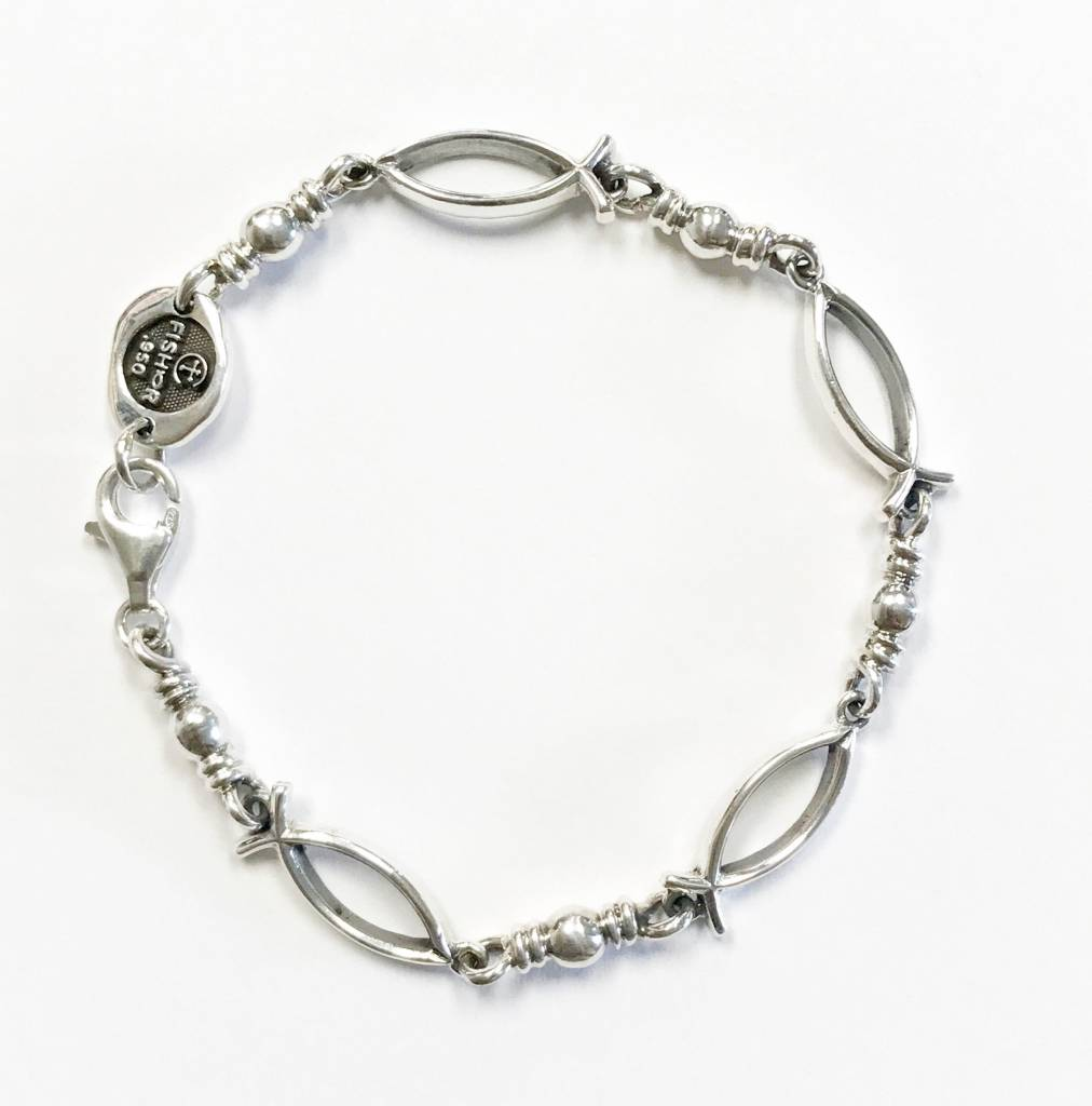 "Ichthus Link SS Bracelet 8.5"""