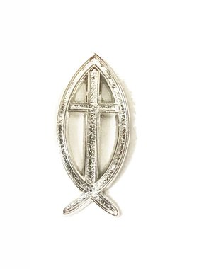 Silver Ichthus Cross Lapel Pin
