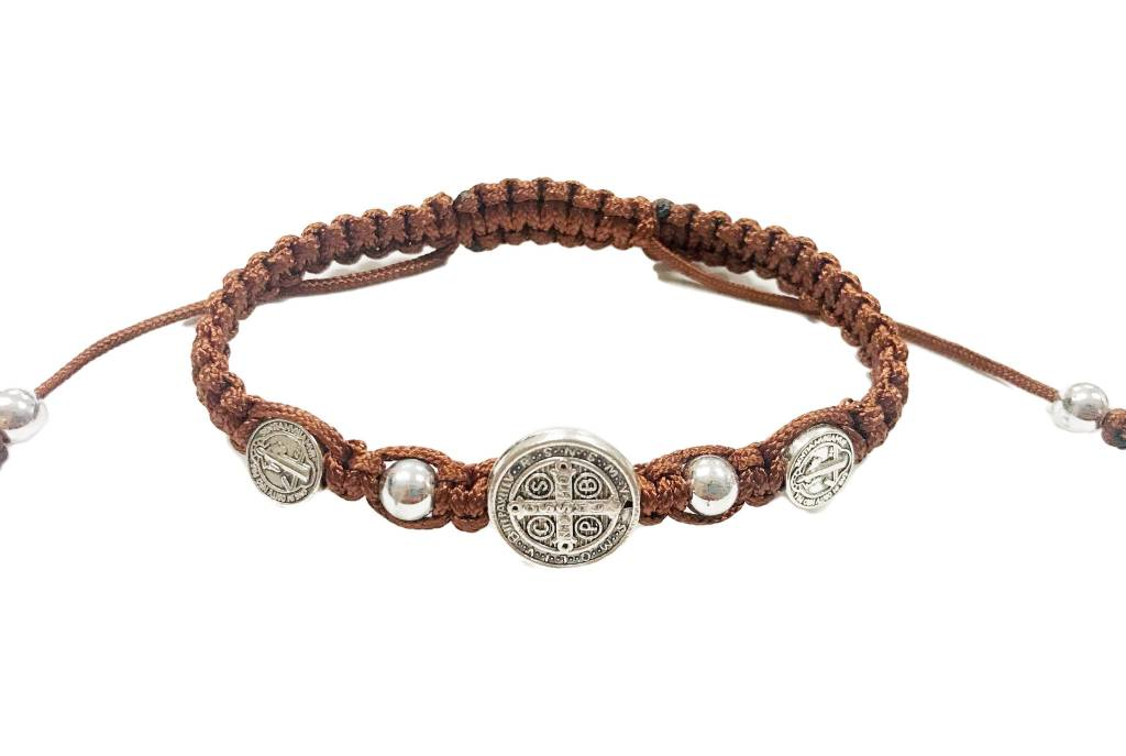 St. Benedict Brown Trinity Cord Bracelet