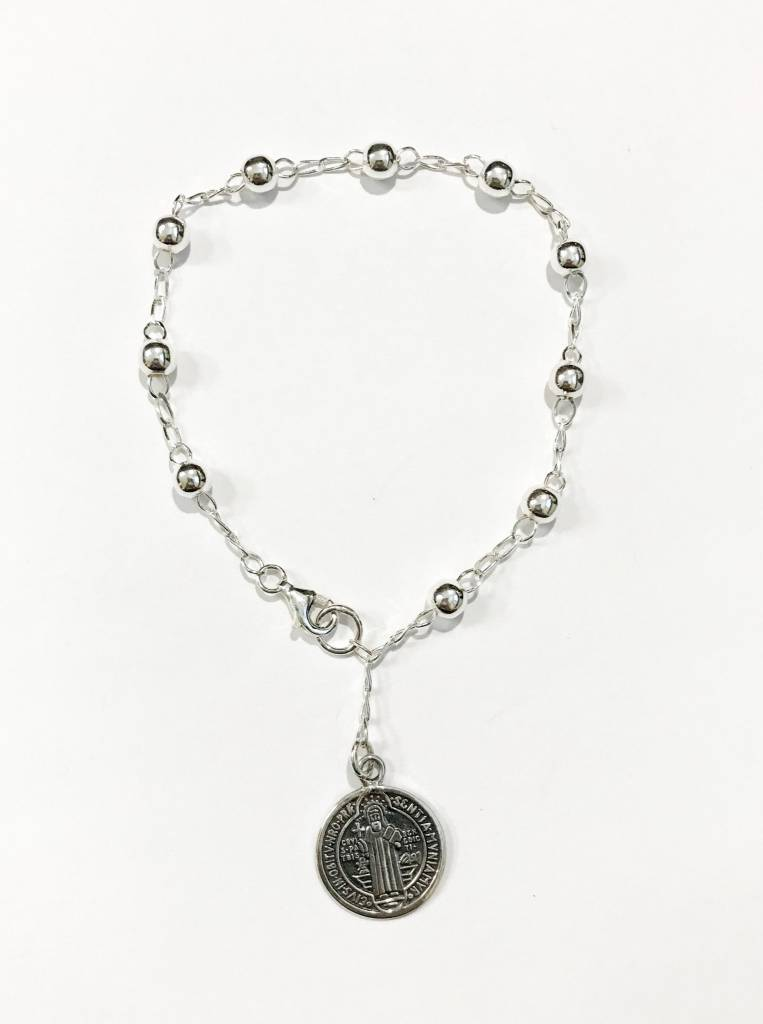 St. Benedict Medal Large Bead SS Rosary Bracelet