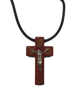 Red Tone Wood Crucifix w/Prayer Card