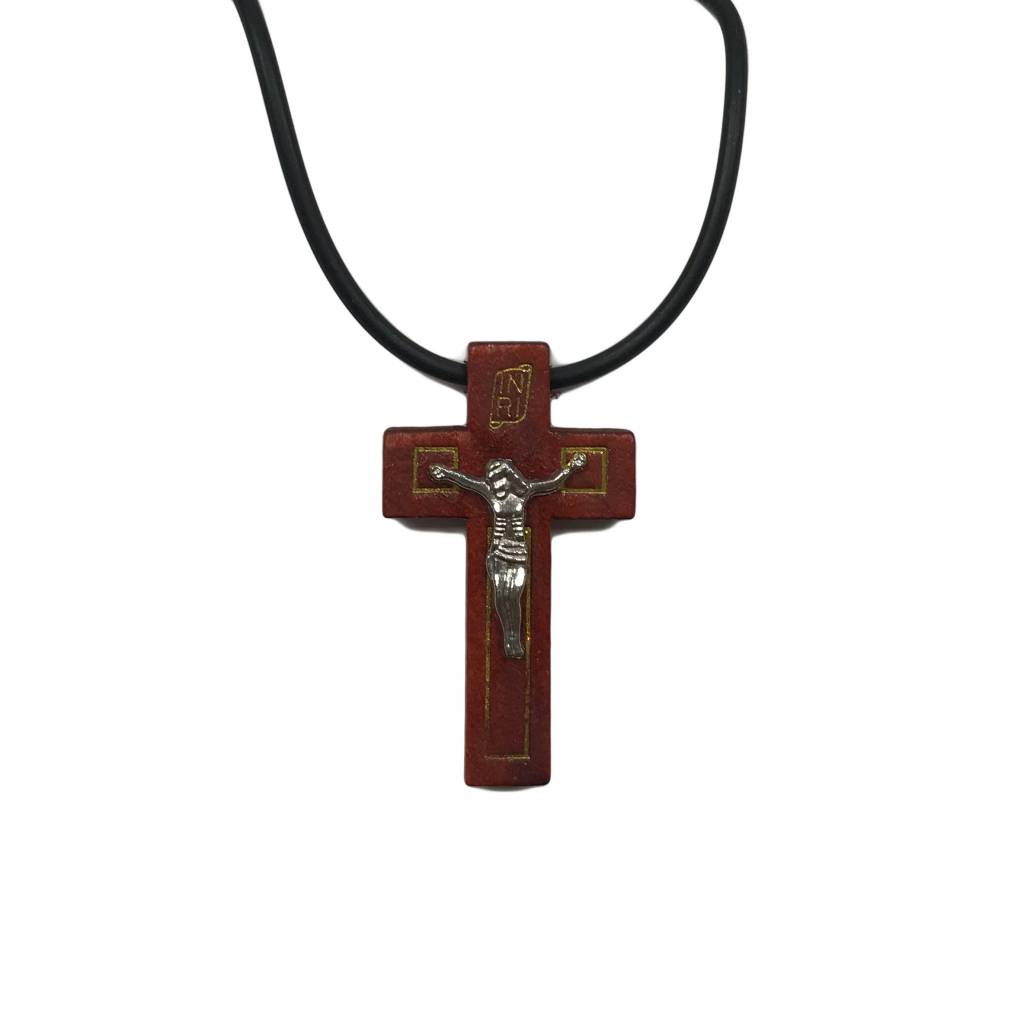Red Tone Wood Crucifix w/Prayer Card