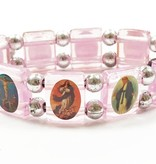 Pink Saints Bracelet w/Prayer Card