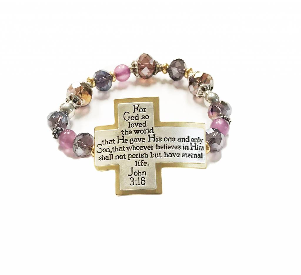 John 3:16 Scripture Bracelet-Amethyst