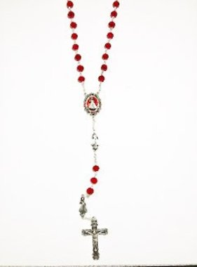 Divine Mercy Red Crystal Bead Rosary