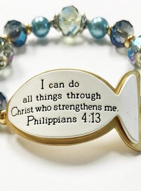 I Can Do All Things Scripture Bracelet-Blue