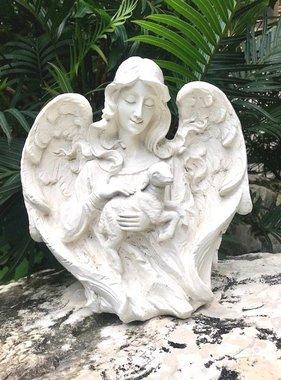 "12"" Angel w/Lamb Garden Statue"