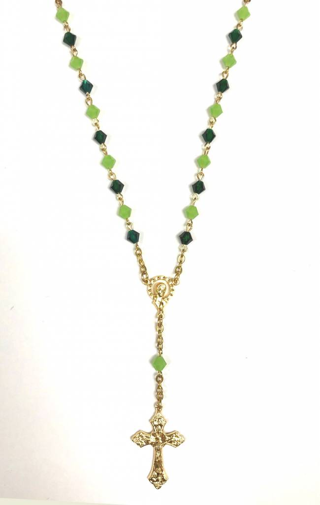 "18"" Green Rosary Necklace"