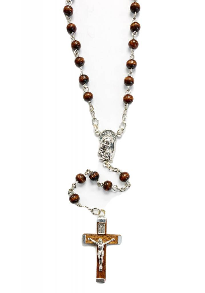 6mm Brown Wood Rosary w/wooden Crucifix