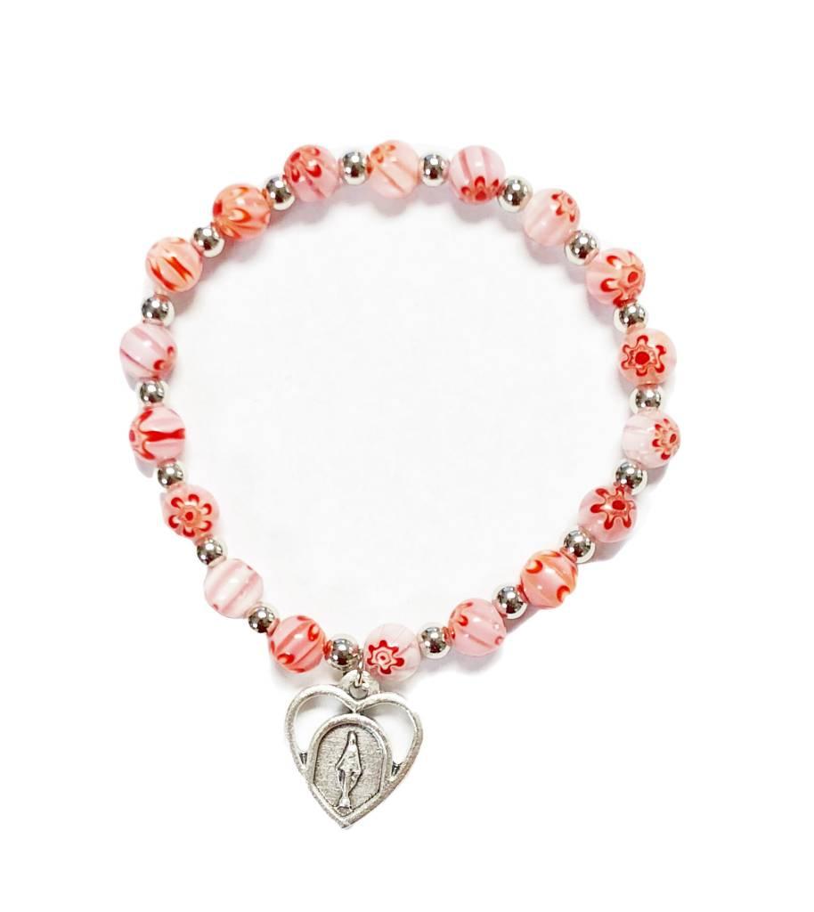 Pink Flower Bead Bracelet