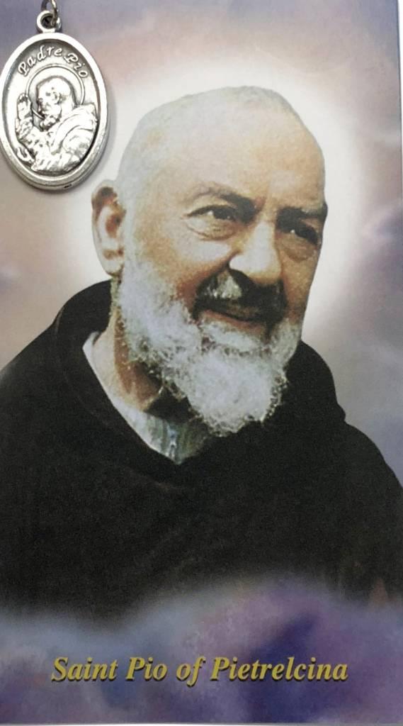 Padre Pio Prayer Card w/Oxidized Medal