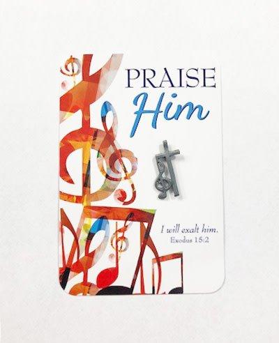 Praise Him Music Note Lapel Pin & Prayer Card