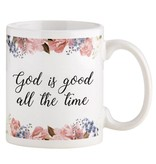 God Is Good Floral Coffee Cup