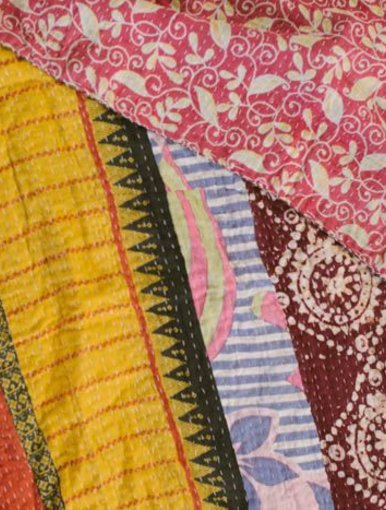Pink Rosey Posy Kantha Quilt