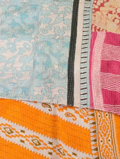 Partly Sunny Kantha Quilt