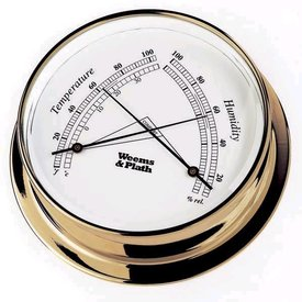 WEEMS & PLATH PLATH BRASS THERMOMETER HYGROMETER