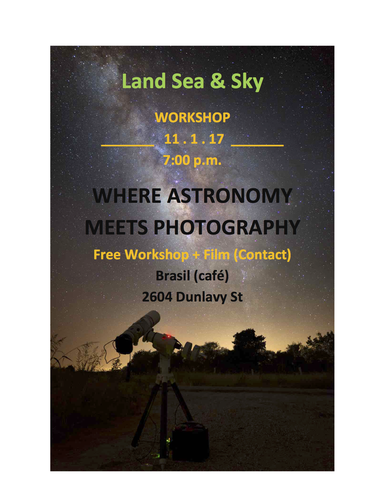 Astrophotography Workshop November 1st