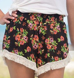 Natural Life Black Blooms Lounge Shorts