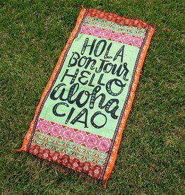 Natural Life Beach Towels Hola Bonjour Hello