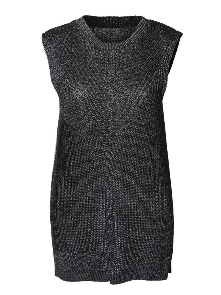DEX CLOTHING SLV/LESS METALLIC SWEATER 1027037