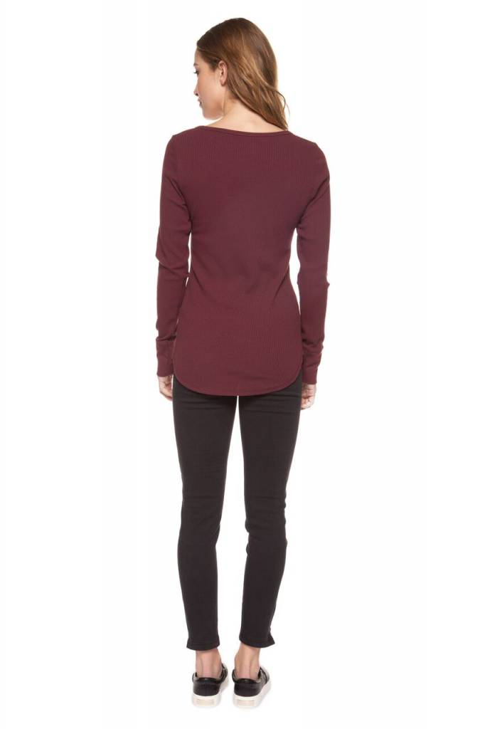 DEX CLOTHING L/S BUTTON SCOOP NECK TEE 1224129