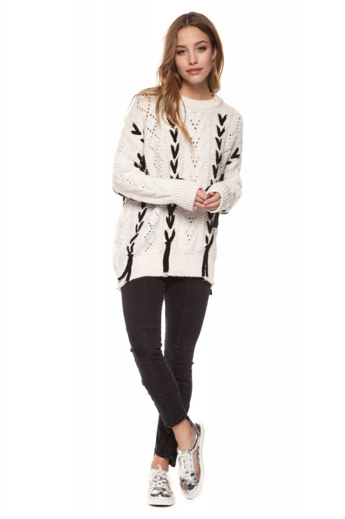 DEX CLOTHING L/S SWEATER BLACK TIE DETAIL 1227037