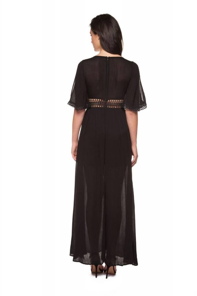 DEX CLOTHING S/S EMBROIDERED V-NECK DRESS 1222346