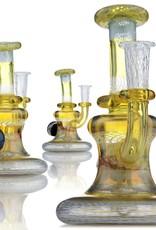 ET Glass ET Glass Fume, White & Blue Retticello Rig w/ attached marble