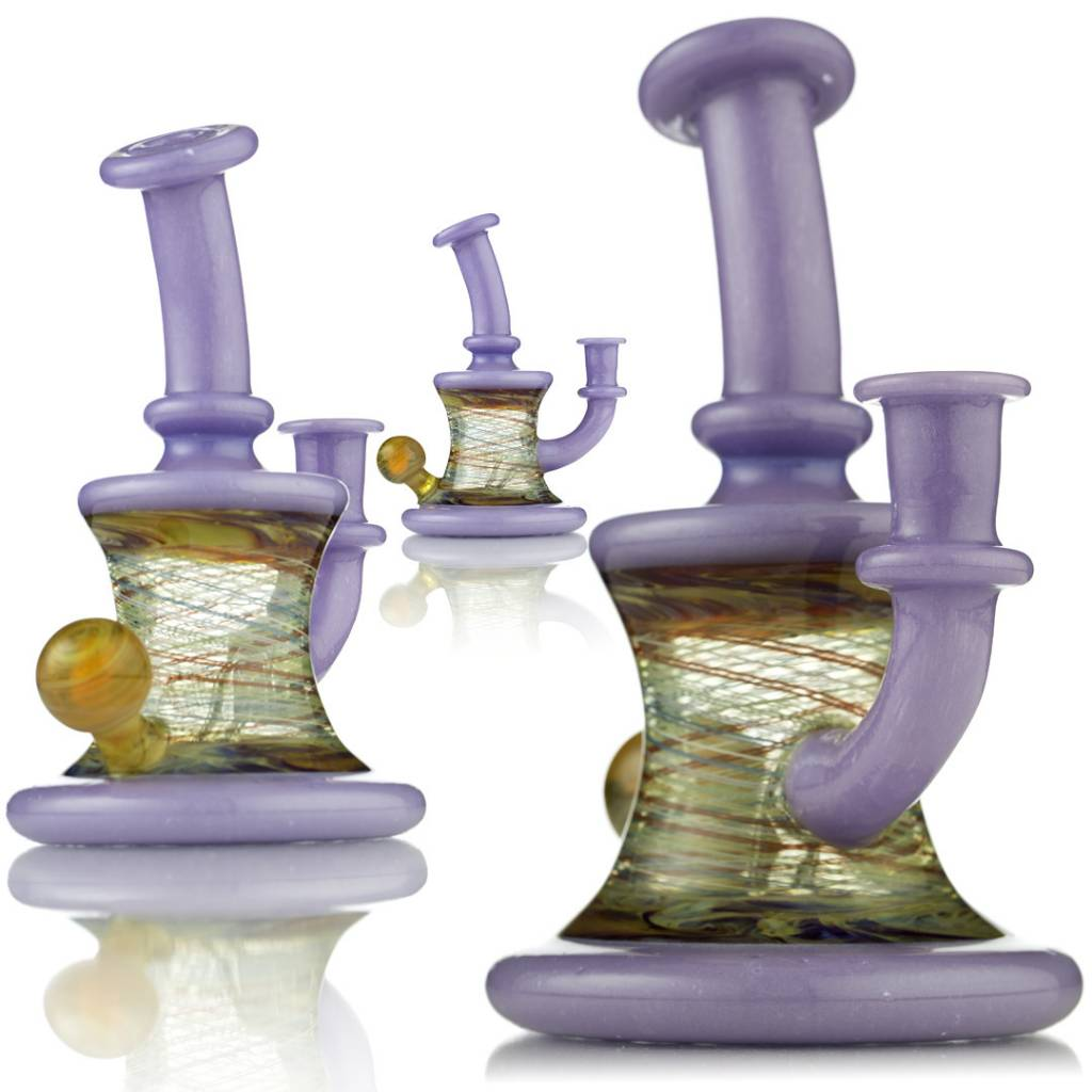 ET Glass ET Glass Lavender, Red & Fume Rig w/ attached marble