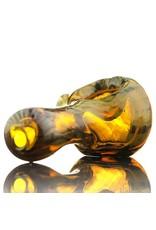 Kevin Engelmann Engelmann Mini Glass Spoon Hand Pipe with Fume Wrap & Rake over Amber