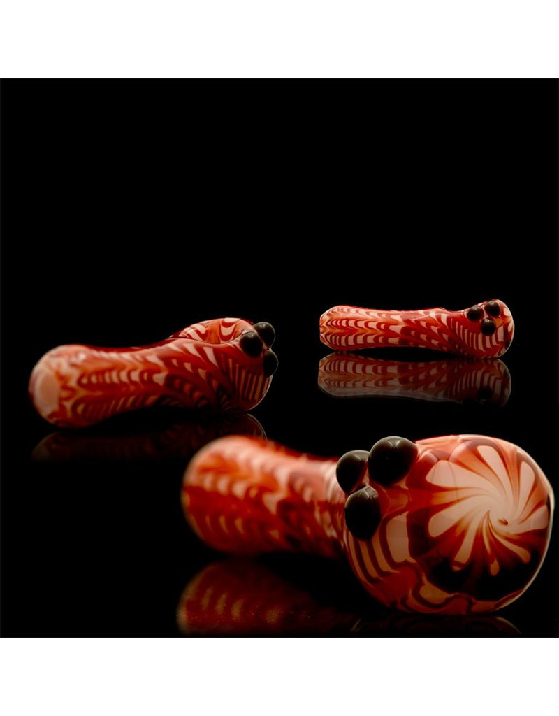 Witch DR Witch DR Red Wrap & Rake on White Hand Pipe by Treso Queso
