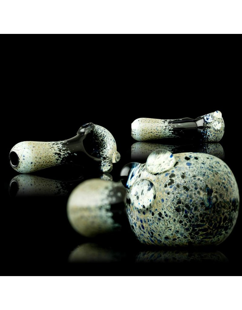 Witch DR Witch DR Blue Moon Frit on Black Spoon Hand Pipe by Treso Queso