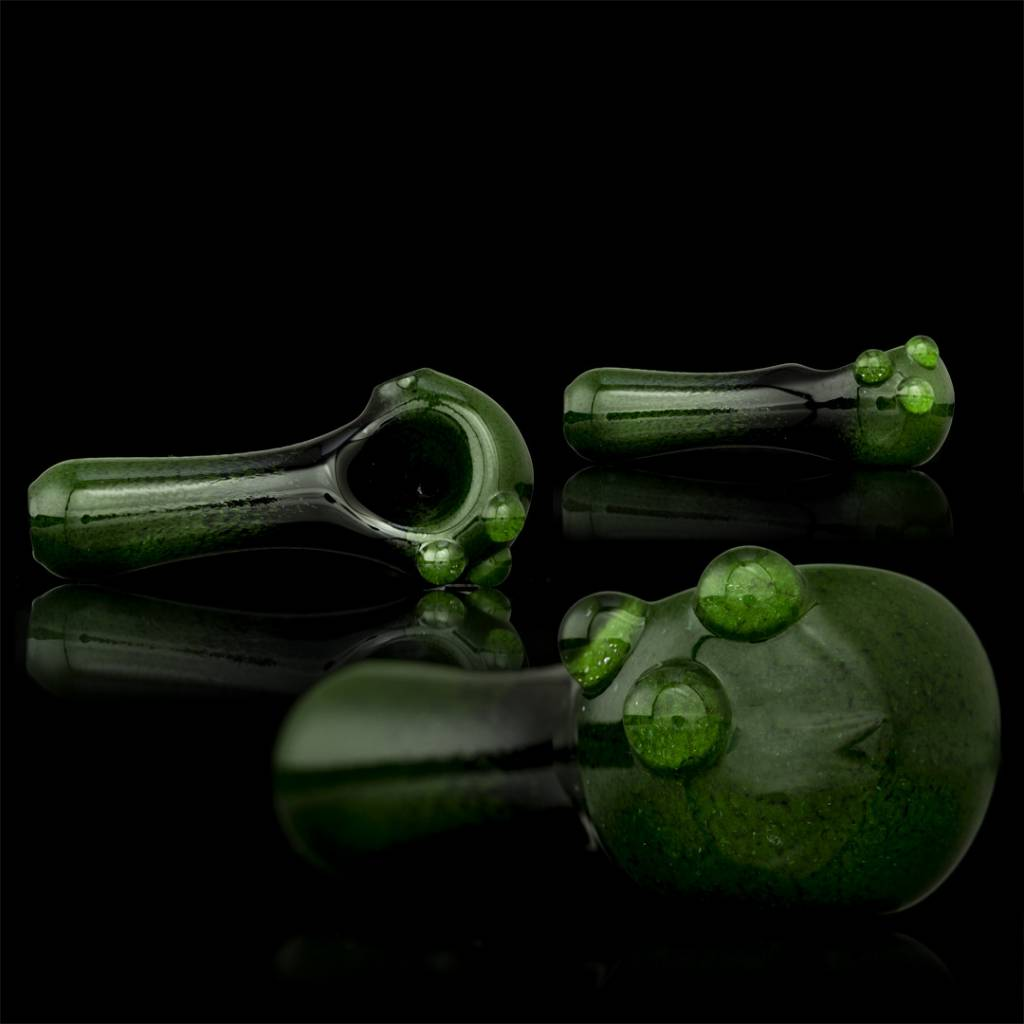 Witch DR Witch DR Green Frit on Black Spoon Hand Pipe by Treso Queso