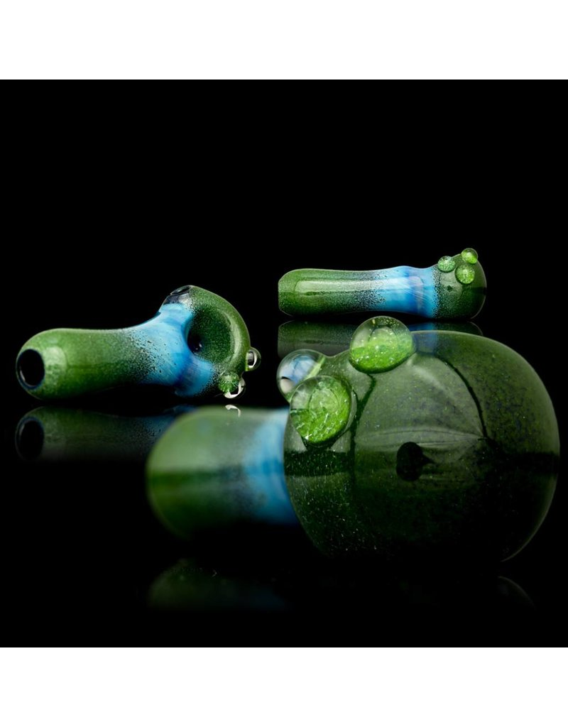 Witch DR Witch DR Fume & Green Frit on Cobalt Hand Pipe by Treso Queso