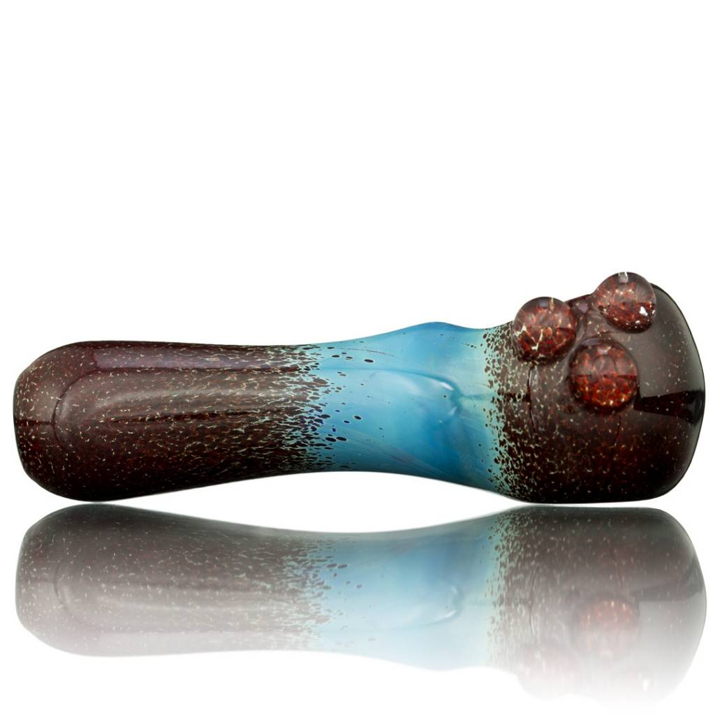Witch DR Witch DR Fume & Red Frit on Cobalt Hand Pipe by Treso Queso