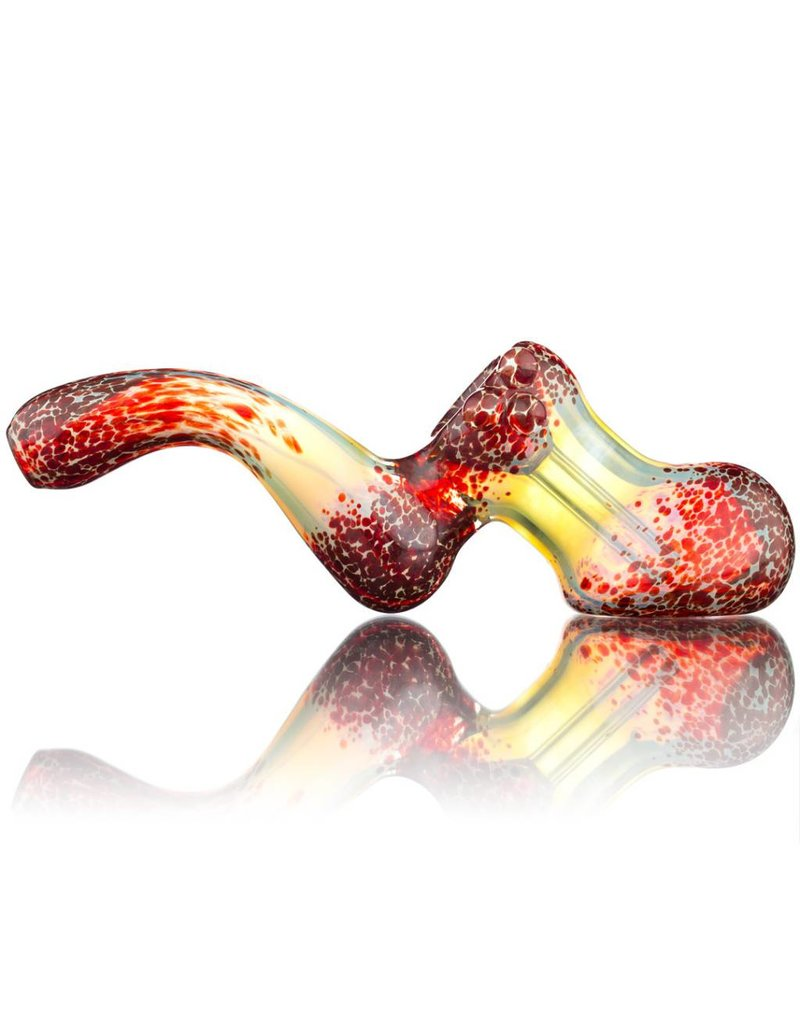 Witch DR Witch DR Fume & Red Frit Laydown Glass Bubbler by Treso Queso