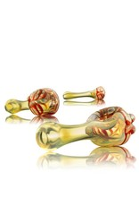 Witch DR Witch DR Red Wrap & Rake Head Hand Pipe by GloRo Glass