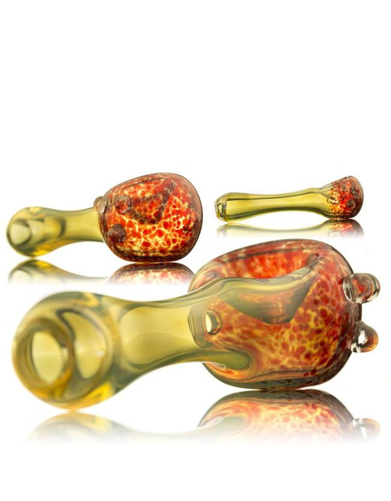 Witch DR Witch DR Red Frit Head & Fume Spoon Hand Pipe by GloRo Glass