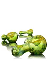 Kevin Engelmann Engelmann Mini Glass Spoon Hand Pipe with Fume Wrap & Rake over Green