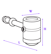 image showing how hammer hand pipe was measured