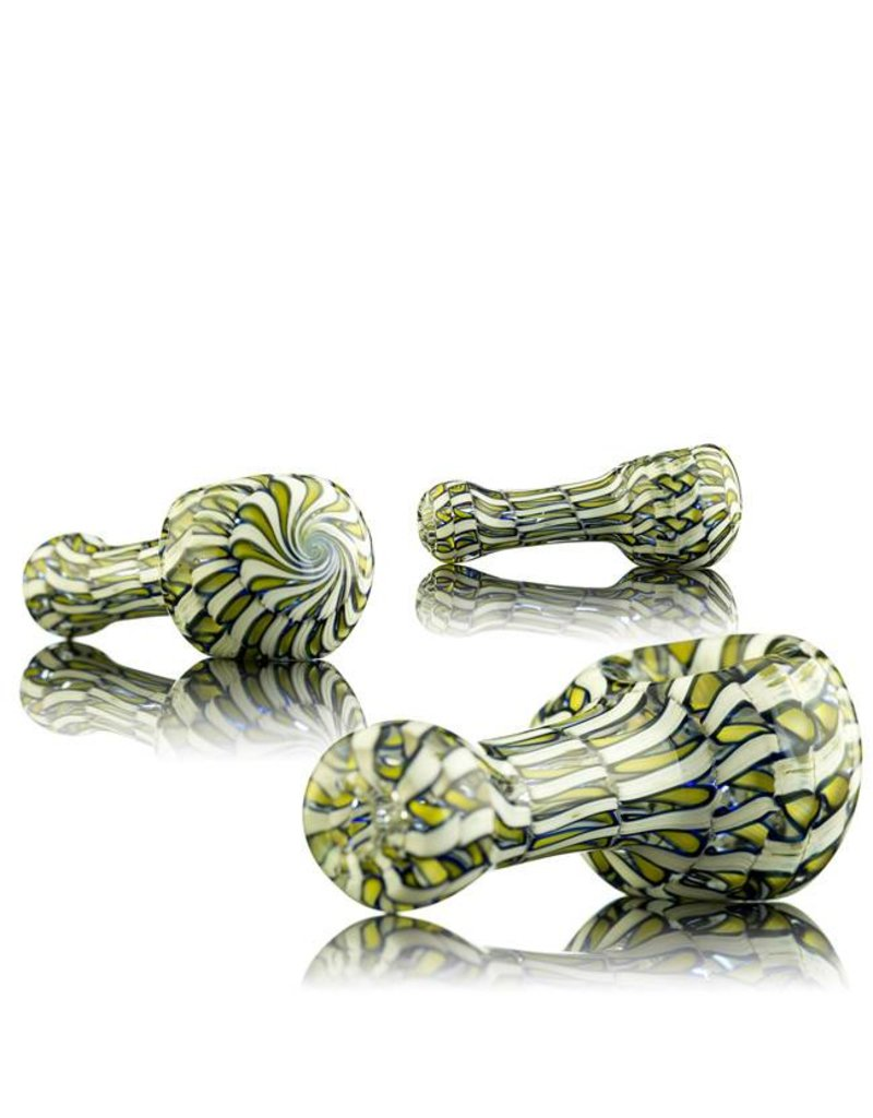 Keith Engelmann Keith Englemann Mini Spoon Hand Pipe with Yellow Ribbon Coil