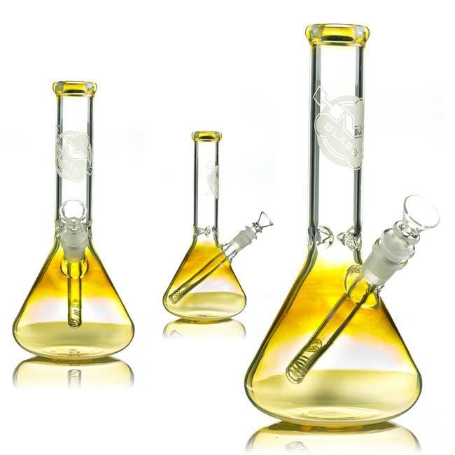 """HVY Glass HVY Glass 11"""" Mini Beaker Bong 38MM Fumed w/ slide & removable  downstem"""