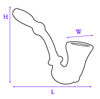 image showing how glass sherlock hand pipe was measured