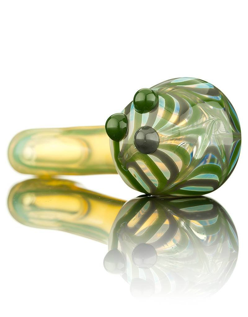 Witch DR Witch DR Green & Gray Wrap & Rake Head Flat Mouthpiece Pipe by GloRo Glass