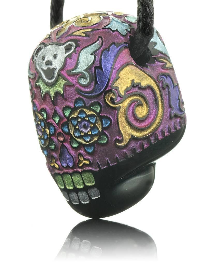 Joei Masataka Joei Masataka Gold Pink Skull Glass Pendant