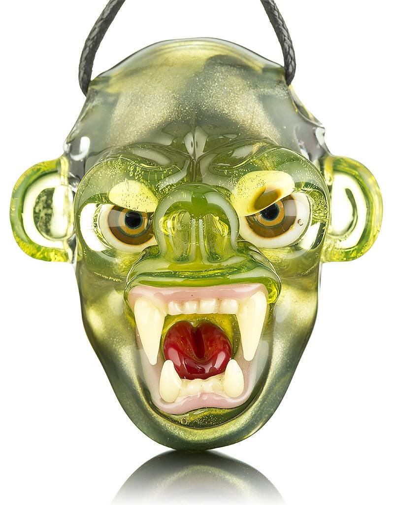 COYLE Coyle Green Open Mouth Monkey Glass Pendant