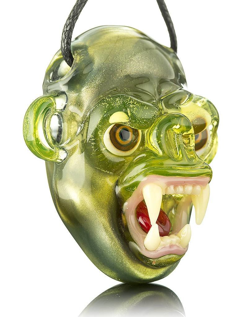 COYLE Coyle Green Open Mouth Monkey Glass Pendant