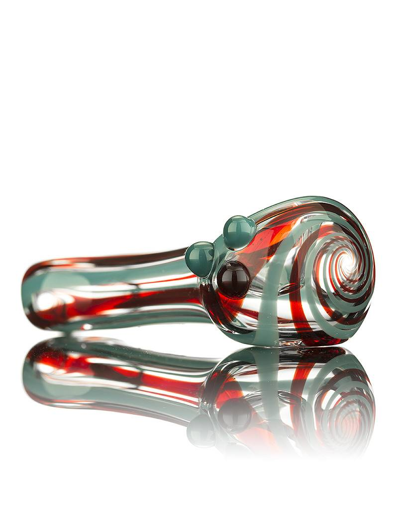 Witch DR Witch DR Red/Azul Lined Flat Mouthpiece Spoon Pipe by GloRo Glass