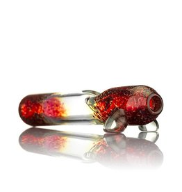Witch DR Fume & Red Frit Glass Steamroller Pipe by Treso  Queso